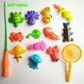 14 unids Conjunto de Juguete de Pesca Magnético Juego de Niños 1 Varilla 1 net 12 3D Peces Bebé Juguetes de Baño Diversión Al Aire Libre