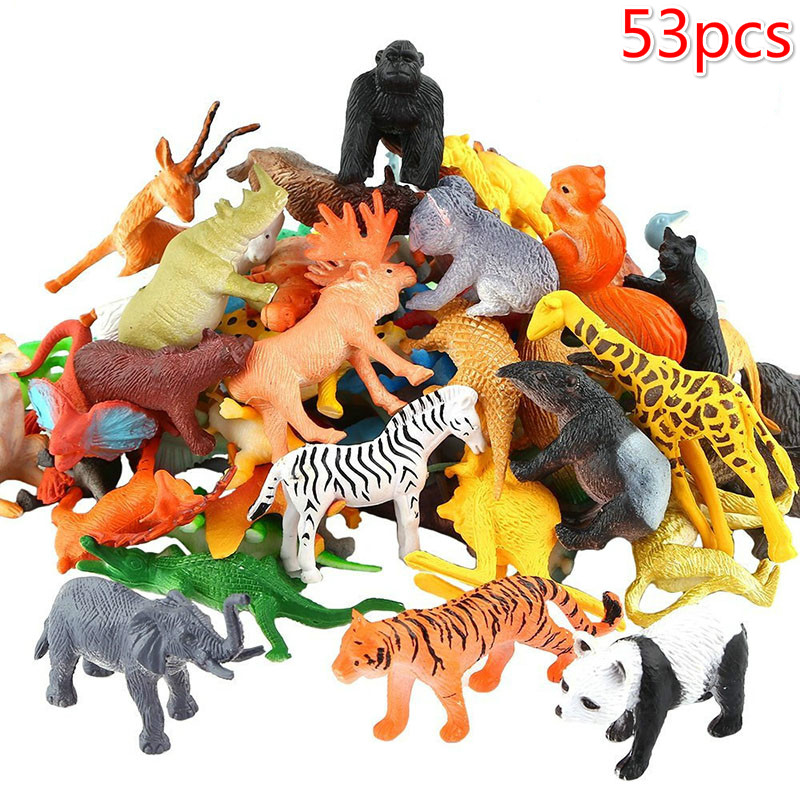 Model Action-Toys Simulation Games Cartoon Fifty-Three-Pieces/mini-Zoo Cute