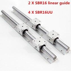 4 sztuk SBR16UU liniowe łożyska bloku + 2 sztuk SBR16 16mm liniowe szyny prowadzącej 300 400 500 600 1000 1200 1500mm w pełni slajdów wsparcie|Prowadnice liniowe|   -