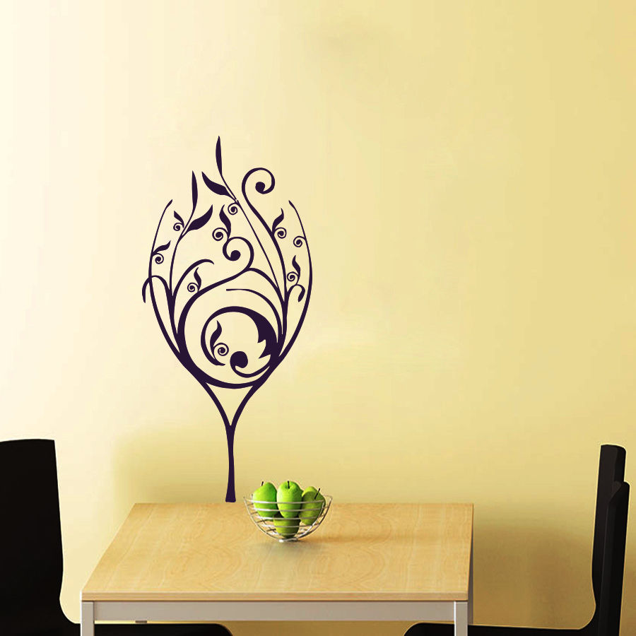 C187 Wall Decals Wine Glass Decal kitchen decor Floral Vinyl ...
