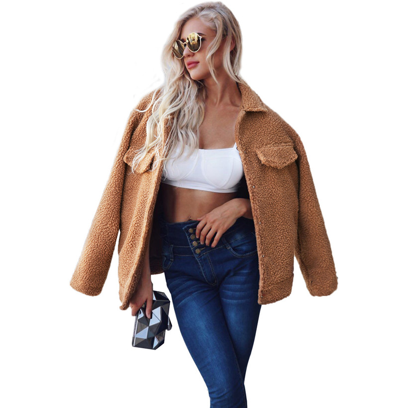 Faux Fur The Cheapest Price 2018 New Type Ebay Top Sale Style Winter Parka Faux Lamp Fur Coat Autumn Fashion Short Jacket With Size Pockets For Fashion Girl Save 50-70%