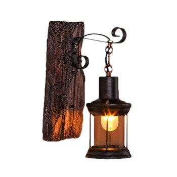 Loft Decor Industrial Wall Lamp Vintage Bedroom LED Wall Light Fixtures Stair Lighting Wood Aplique Luz Pared Glass Wandlamp