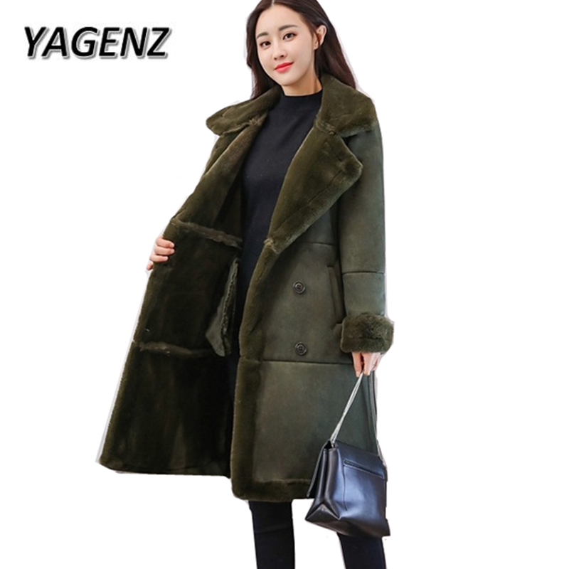 2018 New Fashion Suede lamb Wool Women Coats Double breasted Warm Solid Thick Long Overcoat Casual Winter Cotton Jackets Female qazxsw 2017 new winter cotton coat women long parkas thick velvet double breasted lamb winter jacket women suede jackets hb321