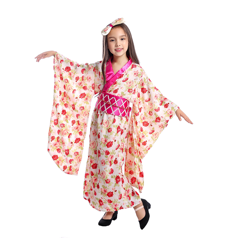 Girls Asian Princess Japanese Geisha Child Ceremonial