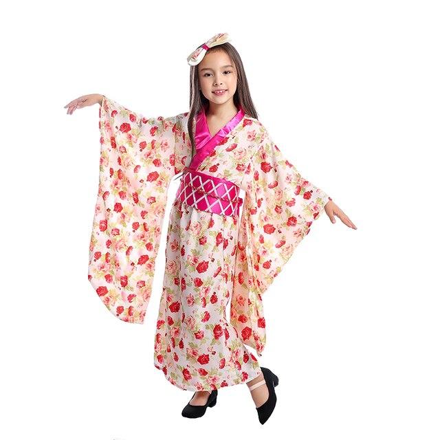 3298e1ac3 Meninas Princesa Asiática Japonesa da Gueixa Quimono Cerimonial Criança  Halloween Traje Nacional