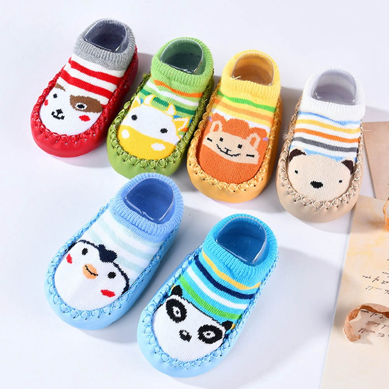 Sunny Infant Cartoon Indoor Floor Sock Toddler Soft Pu Leather Sole Non-slip Shoes Socks Baby Anti Slip Leg Warmers #yl First Walkers