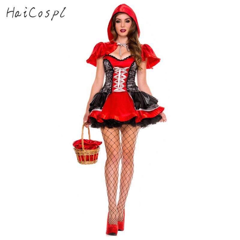 2a632ca77 Caperucita Roja traje de Halloween vestido de las mujeres adultas Festival  Fiesta elegante traje de cuento de hadas Cosplay fantasía con sombrero