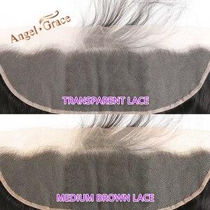 Image 2 - מלאך גרייס ברזילאי גוף גל חבילות עם 13*4 חום/שקוף תחרה פרונטאלית סגירת רמי שיער טבעי 3 חבילות עם פרונטאלית