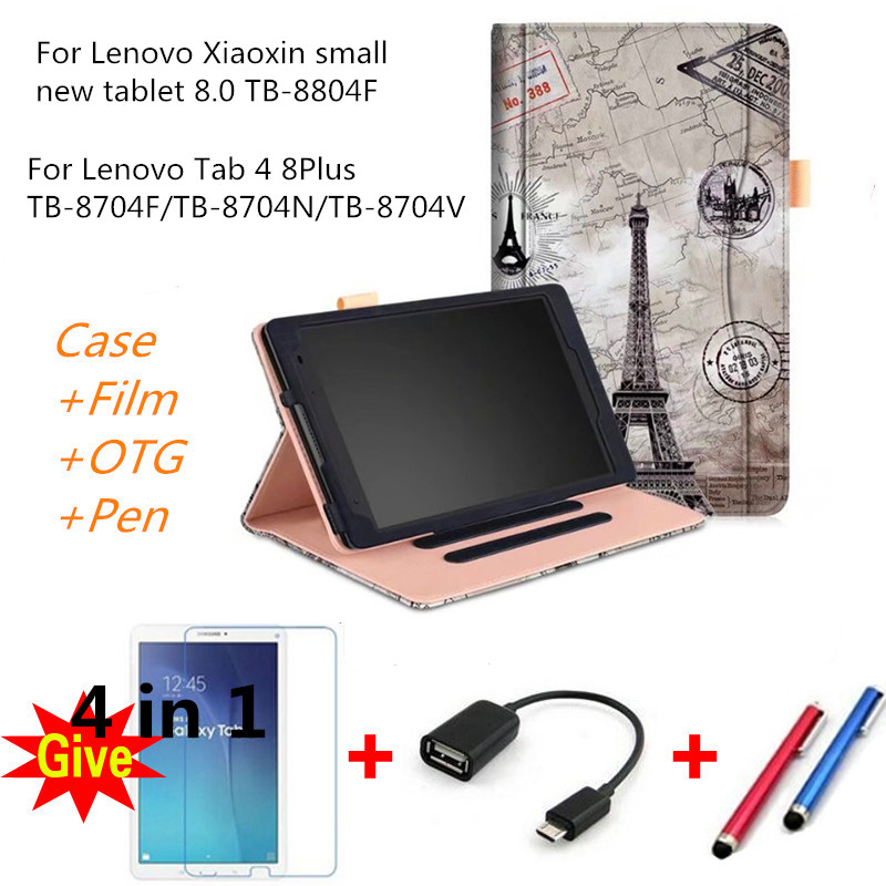 Case for 2017 Lenovo tab 4 8 Plus PU Leather smart Cases for Lenovo Xiaoxin small new tablet 8.0 TB-8804F ZA3F0000CN tablet case ultra thin smart flip pu leather cover for lenovo tab 2 a10 30 70f x30f x30m 10 1 tablet case screen protector stylus pen