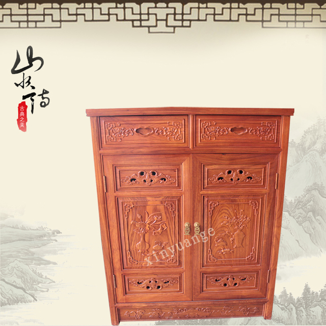 Chinese Rosewood Dongyang Wood Entrance Door Shoe Storage Cabinet Office Antique Mahogany Furniture