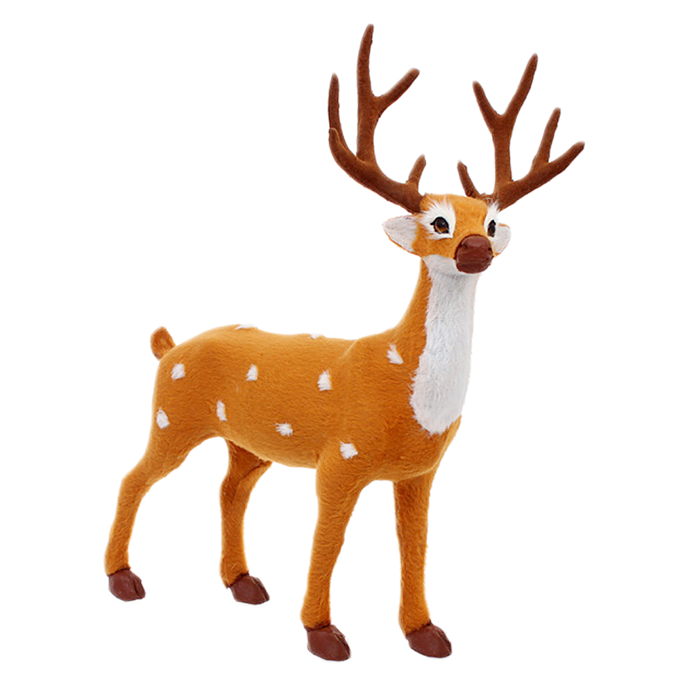Bevigac Christmas Reindeeer Standing Fawn Ornament Deer Crafts Xmas Gift Toy Home Decorations 25cm