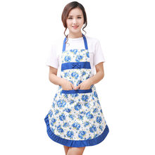 New Printed Apron with pockets waterproof floral bib kitchen soil release aprons bowknot home textiles women bibs breech cloth(China)