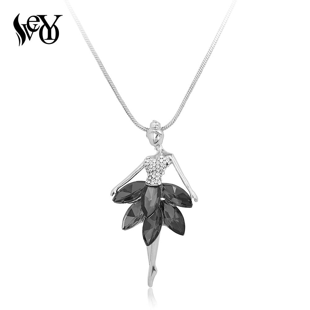 Handmade Trendy Personalized  Little Girl Dancing Crystal &Rhinestone Pendant Necklace