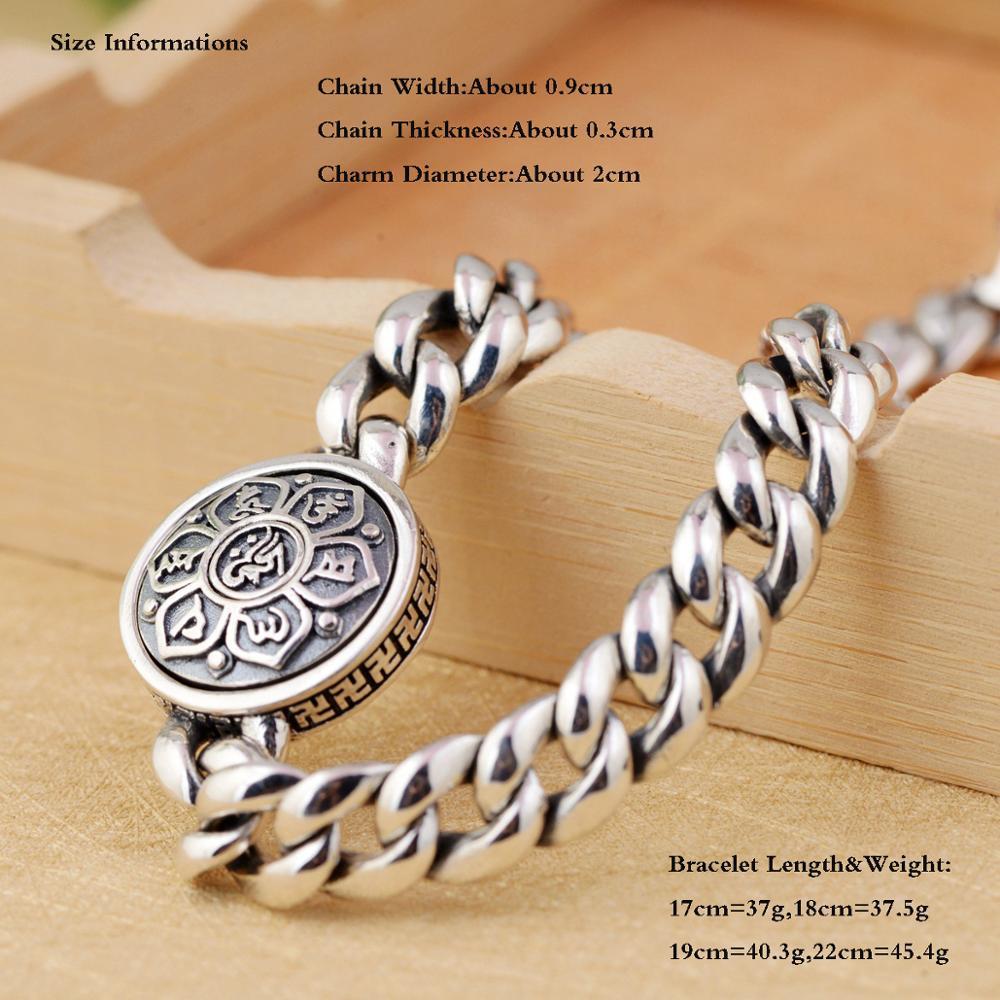 BALMORA Real925 argent Sterling 360 bouddhisme rotatif rapide Six mots Bracelet de Sutra pour hommes femmes cadeau bijoux de mode Vintage-in Bracelets from Bijoux et Accessoires    2