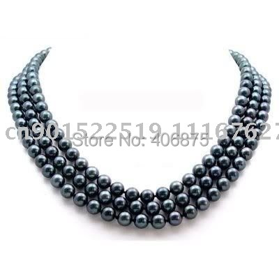 "49"" SOUTH SEA AAA+ 8-9MM BLACK PEARL NECKLACE 14K GOLD"