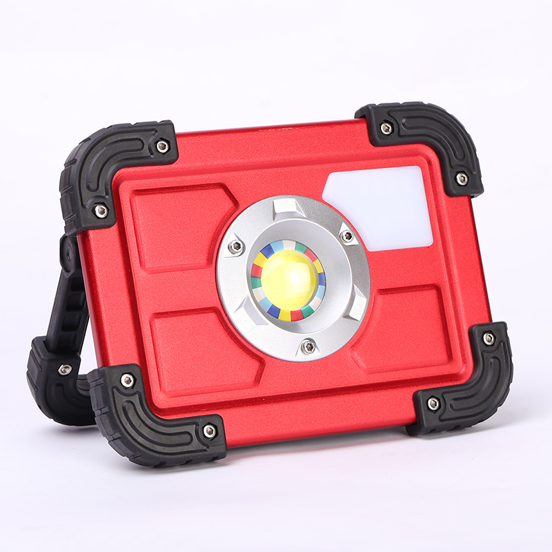 NEW 30W LED Portable Rechargeable Flood Light Spot Work Outdoor Lawn Lamp Roadway Safety Traffic Light Alarm Lamp