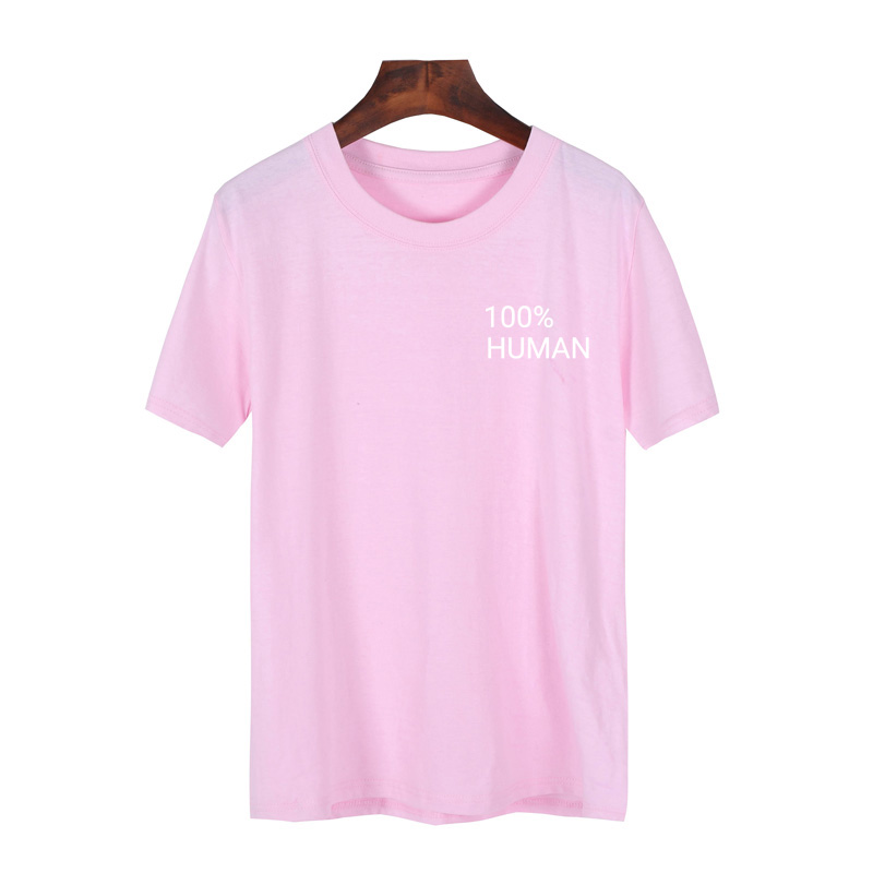 100% Human Pocket T Shirt Women Cotton Short Sleeve Funny Feminist Tumblr T-Shirt Hipster Camiseta Feminina Tee Tops S-XXXL