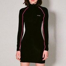 Fashion New Long Sleeve Bodycon Dress Zipper Up Mock Neck Women Short Mini Girls Turtleneck Wrap Tight Black White