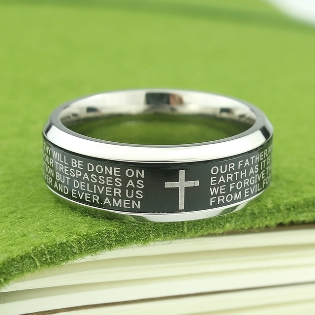 High Quality 8MM  Jesus Cross Rings Letter Bible Wedding Band Ring Wedding Engagement Finger Ring Men Women