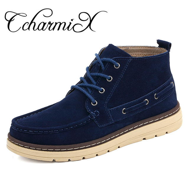 Men Boots Winter Suede Cow Leather Fashion Casual Shoes Snow Boots