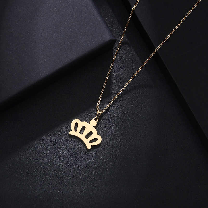 DOTIFI Stainless Steel Necklace For Women Man Lover's Crown Gold And Silver Color Pendant Necklace Engagement Jewelry