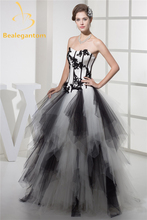 Bealegantom 2017 Lace Black Appliques Ball Gown Quinceanera Dresses Tulle Beaded Sweet 16 Vestidos De 15 Anos QA1053