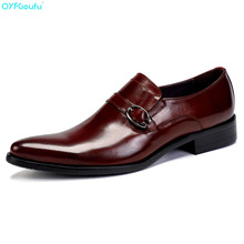 New Brand Slip On Mens Oxfords Buckle Genuine Leather Shoes High Quality Cow Leather Luxury Business Pointy Shoes