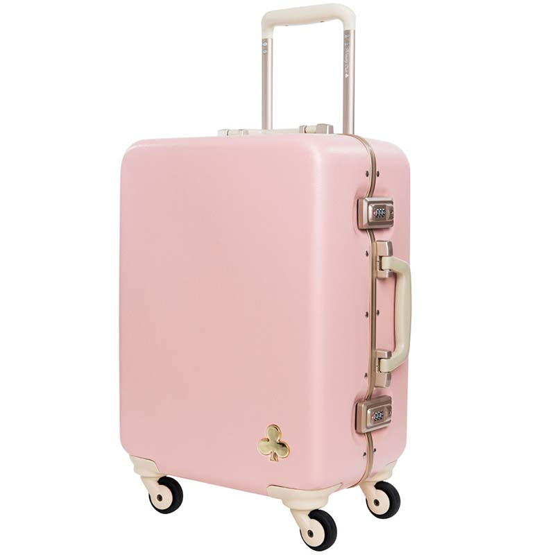 BeaSumore Aluminum Frame Rolling Luggage Spinner vintage PC Women Suitcase Wheels 19 inch Carry Ons Trolley
