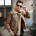 Men's real leather jacket motorcycle pigskin Genuine Leather jackets winter warm coat Aviator jacket flight bomber jacket