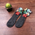 Fashion Women Socks 2017 European Style Hand-made Diamond Socks Spring/Winter Casual Pretty Gem Embroidery Cotton Socks