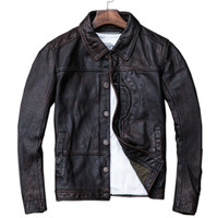 Leather Jacket Jaqueta De Couro Masculina Vintage Brown Leather Jacket Men Cow Skin Natural Leather Jackets Leather Jacket