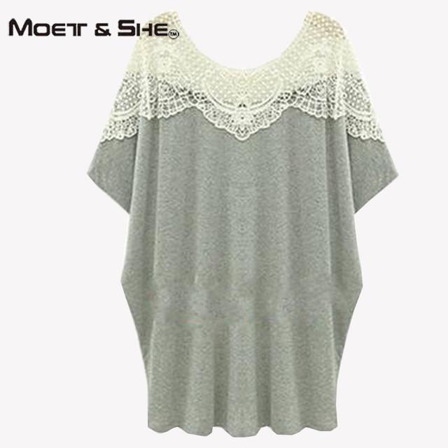 Verão Tamanho Grande camisetas Mulheres de Manga Curta Lace Oco Out algodão Longo T-shirt Top Para As Mulheres Roupas Plus Size 5XL T65331R