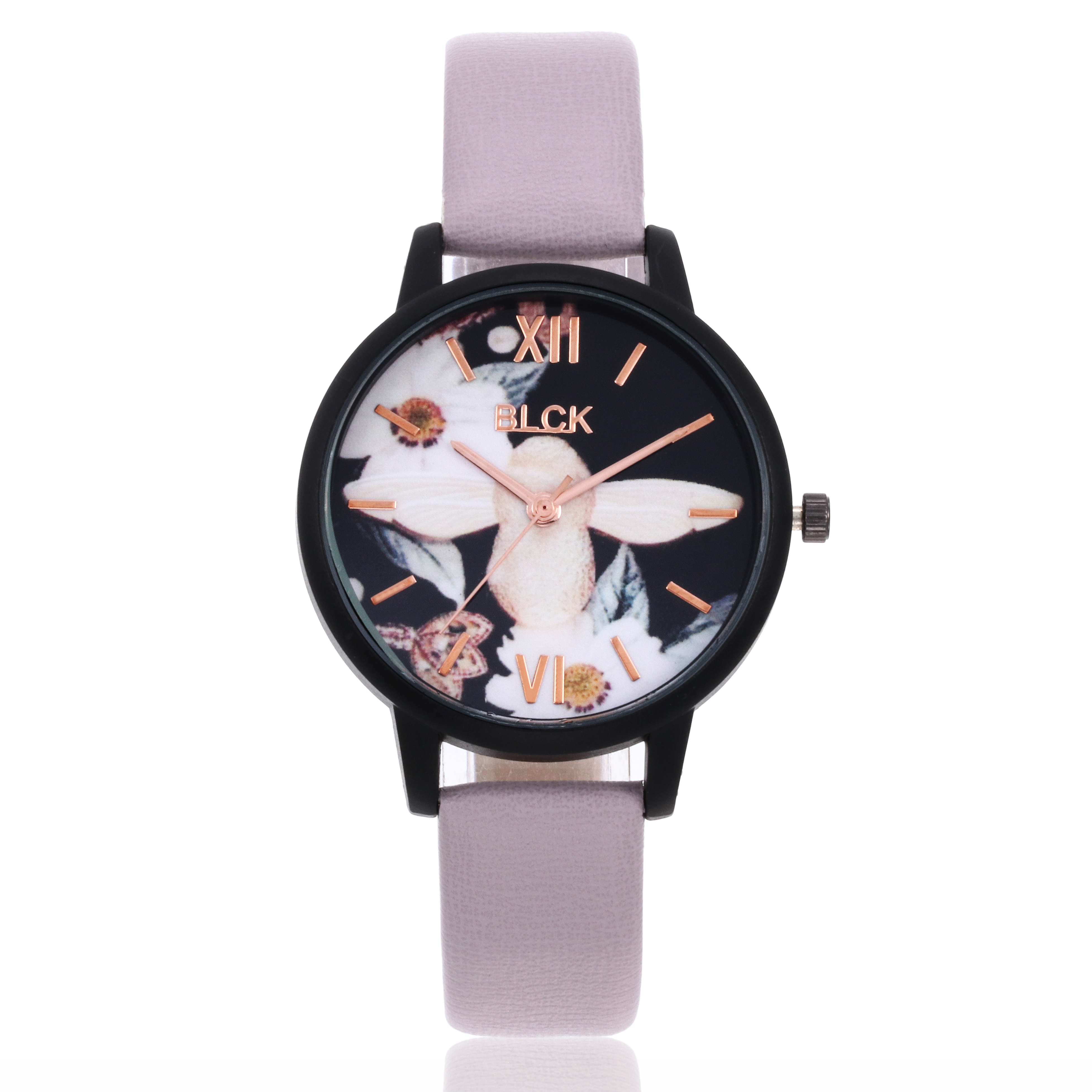 Fashion & Casual Romantic Women Flower Pattern Watches Ladies PU Buckle Clock Female Quartz Wristwatches For Girl Gifts