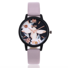 Quartz Wristwatches Flower-Pattern Romantic Women Clock Female Pu-Buckle Gifts Fashion