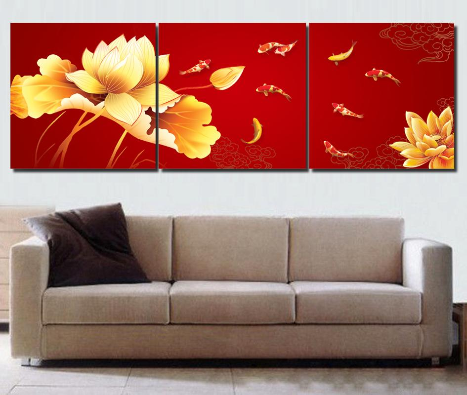 Koi fish wall art chinese painting red wall art modern for Red wall art