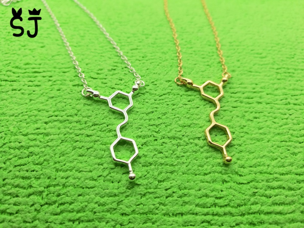 30PCS N033 Red Wine Necklace Resveratrol Necklace Chemical Molecules Necklace Science Structure font b Chemistry b