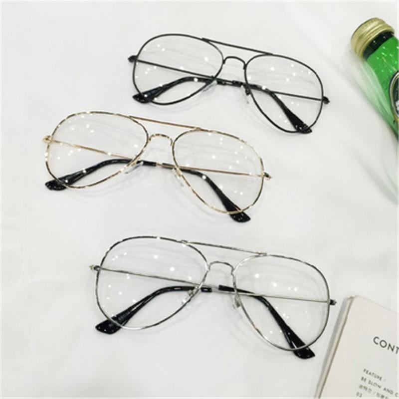 Claro Gafas retro ojo Gafas metal oro miopía gafas mujeres hombres ...