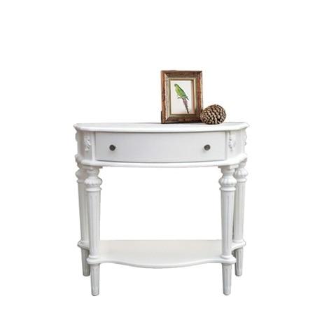 Консольный стол, гостиная, мебель для дома, твердый деревянный столик, столик для крыльца, стол, полукруглый шкаф для коридора - Цвет: Белый