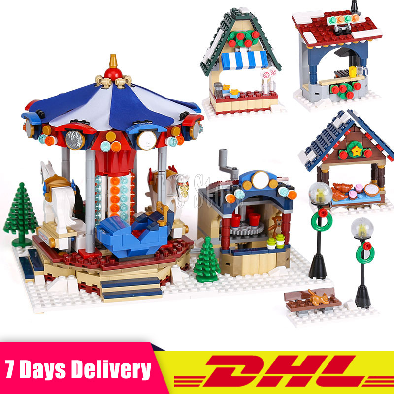 Lepin 36010 The Winter Village Market Set DIY Creative Series Building Blocks Bricks DIY Toys Christmas Gifts Clone 10235 lepin 36010 genuine creative series the winter village market set legoing 10235 building blocks bricks educational toys as gift
