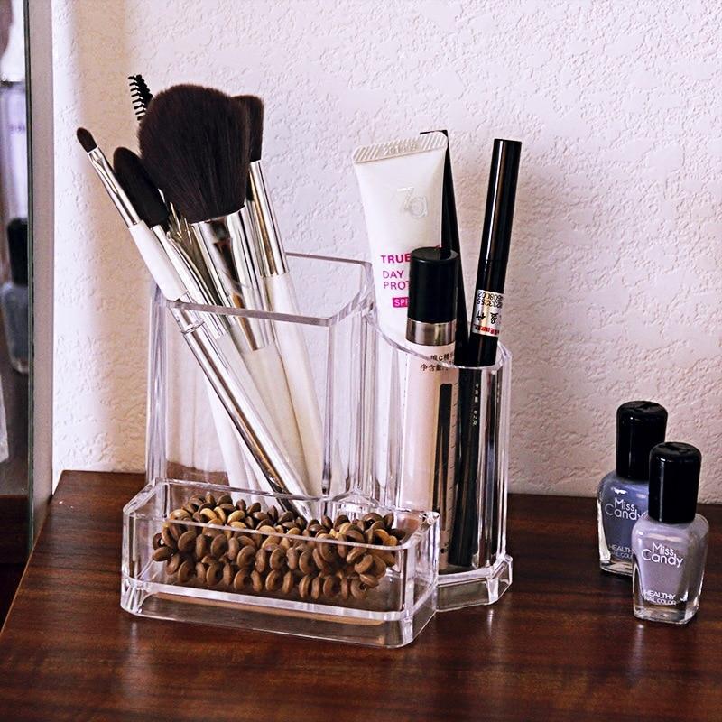 Tnukk 3 transparent cosmetic storage box desktop finishing acrylic lipstick case lipstick case makeup brush tube storage box