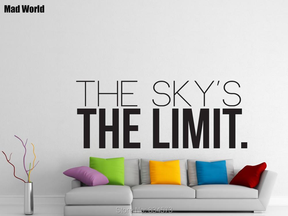 Mad world the skys the limit motivation wall art stickers wall decal home diy decoration removable room decor wall stickers 57x145cm