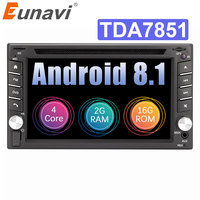Eunavi 2 Din Quad Core TDA7851 Universal Android 8.1 Car Multimedia dvd radio stereo audio Player 2din Tablet PC GPS Navigation
