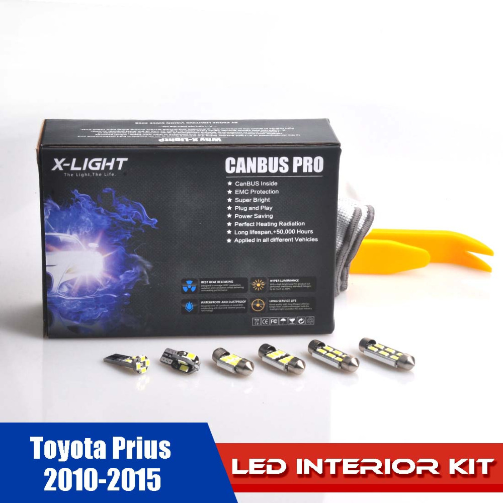US $19 99 |13pcs Error Free Xenon White Premium LED Full Reading Light Kit  for 2010 2015 Toyota Prius WITH Installation Tool 5630SMD-in Signal Lamp