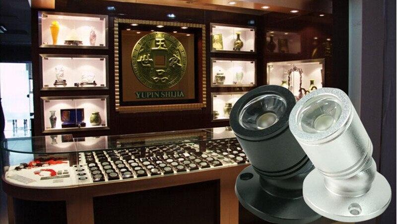 50pcs/lot 1W/3W Surface Mounted LED Cabinet light, mini led spotlight for super market,silver and black