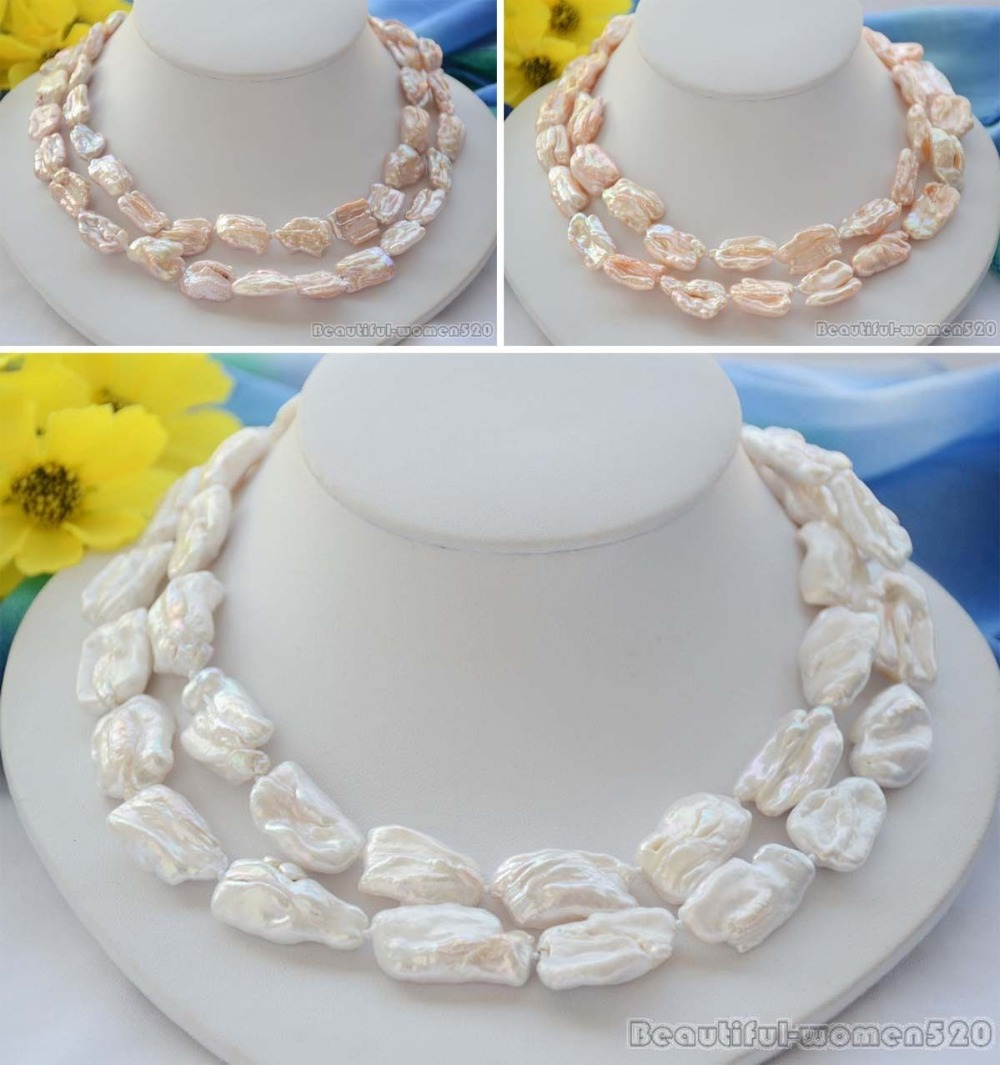 X0395 26mm BAROQUE KESHI dens REBORN PEARL NECKLACE 34inch