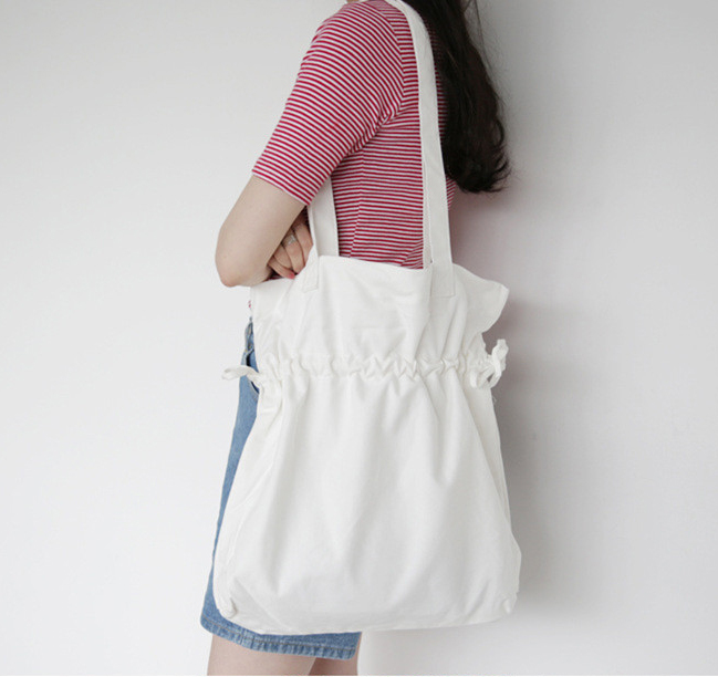 Summer Casual Women's Canvas Handbags Solid Colour Lady Shoulder Bags Big Size Shopping Bag Ruched Women Tote Bag 2018 fashion lady handbags women canvas messenger bags shopping bags ladies casual green striped smiling face hand bag party