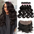 Queen Hair Brazilian Body Wave 4 Bundles Lace Frontal Closure With Bundles Wet And Wavy Virgin Brazilian Hair Cheap Human Hair