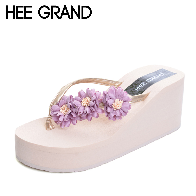 HEE GRAND Beach Flowers Flip Flops 2017 New Wedges Slides Casual Platform Shoes Woman Slip On Creepers Slippers XWT570 lanshulan bling glitters slippers 2017 summer flip flops shoes woman creepers platform slip on flats casual wedges gold