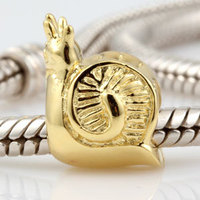 2014 New 925 Sterling Silver Snail Beads For Women Gold Plated Charms Jewelry Fit Pandora DIY