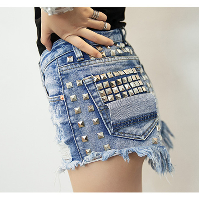 Hot 2016 Summer style Women High Waist Jeans Shorts Denim Rivet Shorts Soft Bottom Plus Size White Blue Shorts Sexy